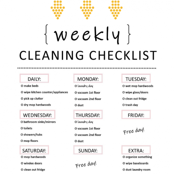Organize Me | Weekly Cleaning Checklist {Free Printable}